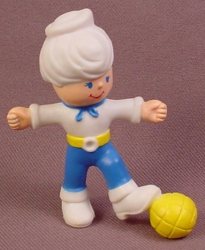 Vintage 1982 Remco Soccer Player PVC Figure With White Hair & Sailor Hat, 2 3/8 Inches Tall
