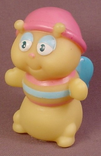Vintage 1985 Glo Worm With Blue Wings Pink Night Cap, 3 Inches Tall, Hasbro, Gloworm