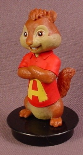 Alvin & The Chipmunks Alvin PVC Figure On A Black Round Base, 3 Inches Tall, 2011 Snapco