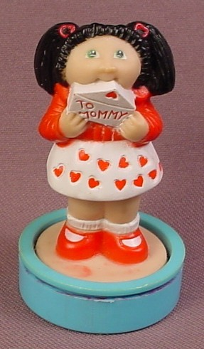 Cabbage Patch Kids Figural Rubber Stamp, Kid With Black Hair & Letter To Mommy PVC Figure