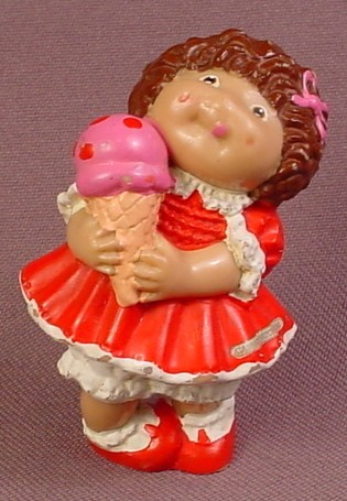 Cabbage Patch Kids Mini PVC Figure With Ice Cream Cone & Red Dress, 2 1/2 Inches Tall, 1985