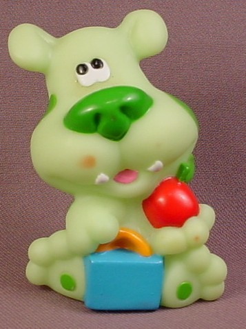 Blue's Clues Green Puppy Dog With Book Bag & Apple Figure, 3 Inches Tall, Viacom, 2000