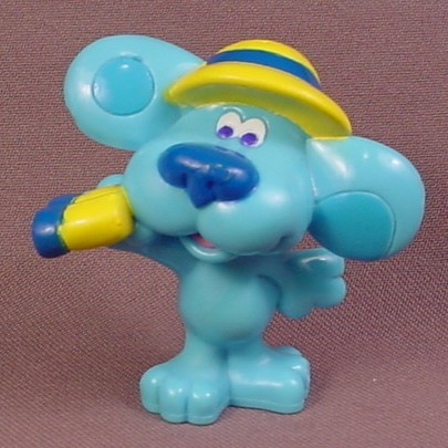 Blue's Clues Blue Dog With Wearing A Safari hat & Holding Binoculars PVC Figure, 2 1/2 Inches