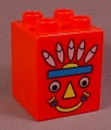 Lego Duplo 31110 Red 2X2X2 Brick Printed With A Native American Indian With Feather