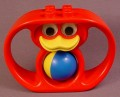 Lego Duplo Red Rattle with Duck Face & Rattling Ball That Spins, Has 2 Hand Grips, 4 Studs