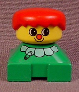 Lego Duplo 2327 Short Bust Figure With Green Shirt With White Collar & Safety Pin, Red Hair