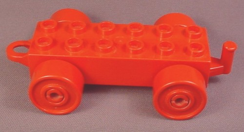 Lego Duplo 2312 Red 2X6 Car Vehicle Base With Hitch & Red Wheels, 2467