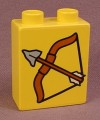 Lego Duplo 4066 Yellow 1X2X2 Brick With A Bow & Arrow Pattern, 2431 2436 2438 2604 2605