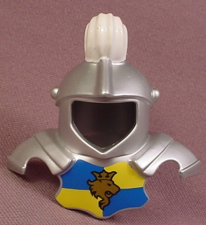 Lego Duplo 51728 Chrome or Silver Armor with White Plume, Blue & Yellow Chest With Gold