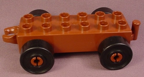 Lego Duplo 2312 Brown 2X6 Car Vehicle Base With Hitch & Black Wheels, 5 Inches Long, 4779