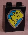 Lego Duplo 4066 Black 1X2X2 Brick With A Yellow Lion With A Crown On A Blue & Yellow