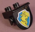 Lego Duplo 42236 Black 1X2 Plate With Shield Shaped Overhang, Yellow Lion On A Blue