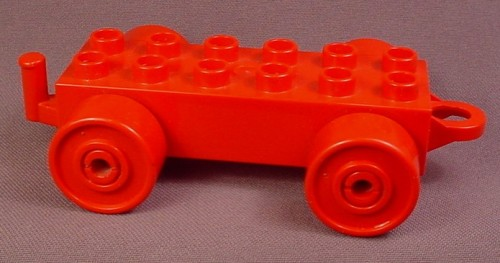 Lego Duplo 4883 Red 2X6 Car Base With Hitches & Red Wheels, 5 Inches Long, 1977 To 1984