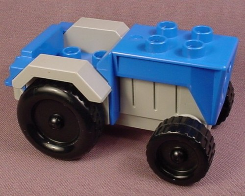 Lego Duplo 4816 Blue & Gray Farm Tractor With A Hitch & Black Tires, Grey