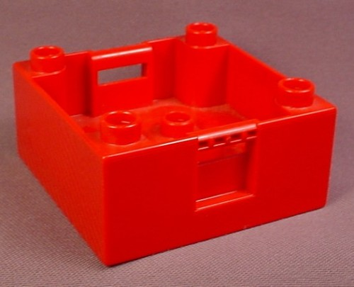 Lego Duplo 47423 Red 4X4X1 1/2 Container Or Cargo Box With Studs On Corners & Handles