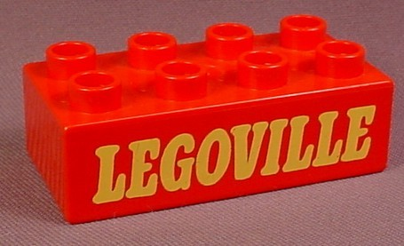 Lego Duplo 3011 Red 2X4 Brick With Yellow Legoville Sign Pattern, 524-1 A Small Town, 1977