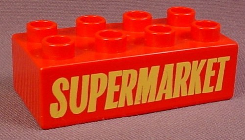 Lego Duplo 3011 Red 2X4 Brick With Yellow Supermarket Sign Pattern, 524-1 A Small Town
