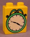 Lego Duplo 4066 Medium Orange 1X2X2 Brick With White Clock Face With Green Frame, 5552
