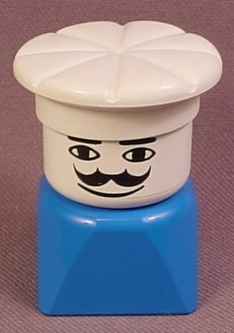Lego Duplo 829 Blue Tall Bust With White Chef Hat, White Face With Moustache, Blue Body