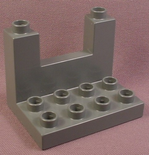 Lego Duplo 51698 Dark Stone Gray 3X4X2 1/2 Plate with Crenellation, Sloped Wall Between
