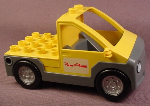 Lego Duplo Yellow Delivery Truck Or Van With Gray Chassis & Pizza Planet Pattern