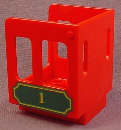 Lego Duplo 92453 Red Vehicle Cab With Gold & Green #1 Pattern On 2 Sides, 2 Narrow