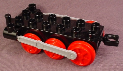 Lego Duplo 4580 Black 2X6 Train Base With Red Wheels & Light Stone Gray Pistons, 5545