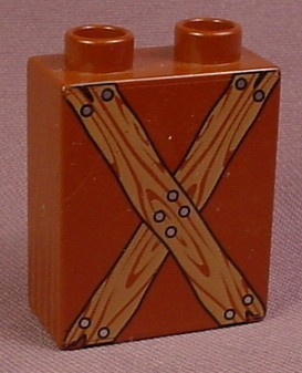 Lego Duplo 4066 Brown 1X2X2 Brick With Crossed Wooden Boards With Nails Pattern, 4779