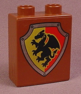 Lego Duplo 4066 Brown 1X2X2 Brick With Black Dragon On A Yellow & Red Shield Pattern