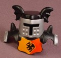 Lego Duplo 51727 Black Armor With Silver Visor, Black Dragon On A Red & Orange Pattern
