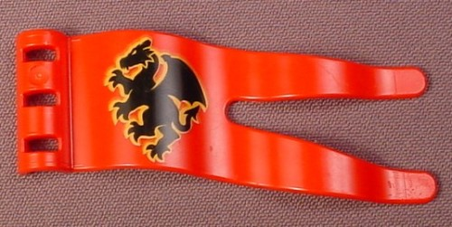 Lego Duplo 51725 Red Wavy Pennant Flag with Clips, Black Dragon Pattern, 4776 4777 4779