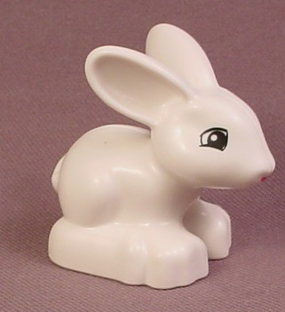 Lego Duplo White Bunny Rabbit Animal Figure With Black Eyes Pattern, 1 5/8 Inches Tall
