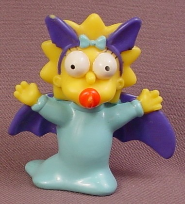 Burger King 2001 Maggie In A Bat Costume PVC Figure, 2 1/4 Inches Tall, Spooky Light Ups