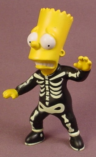 Burger King 2001 Bart As A Glow In The Dark Skeleton PVC Figure, 3 3/8 Inches Tall, Spooky