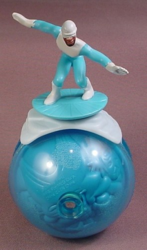 Disney The Incredibles Frozone PVC Figure On Rolling Ice Ball Toy, The Figure Is Removable