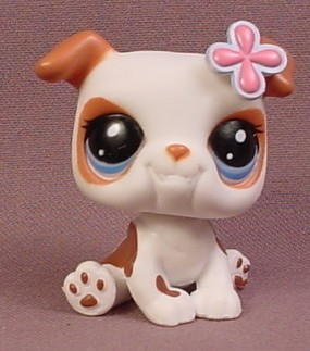 littlest pet shop bulldog littlest pet shop 2106 white bulldog puppy dog with brown 2769
