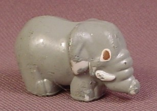 Polly Pocket 1989 Gray Elephant Figure With White Tusks, From Wild Zoo World Set #940221