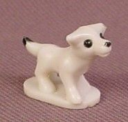 Polly Pocket 1989 White Dog With Black Eyes, From Polly's Country Cottage Set #90051