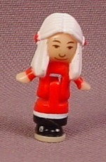 Polly Pocket 1993 Mrs Santa Claus Doll Figure, From Holiday Toy Shop Pollyville Set #14472