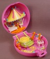 Polly Pocket 1997 Carnival Parade, Princess Polly Pink Compact, #980131, Carousel Tent Folds