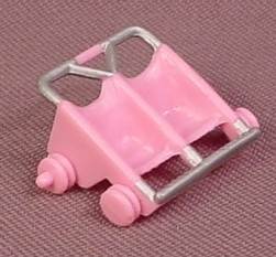Polly Pocket 1994 Pink 2 Seat Stroller, From Strollin Strolling Surprise, #950641 or #11954
