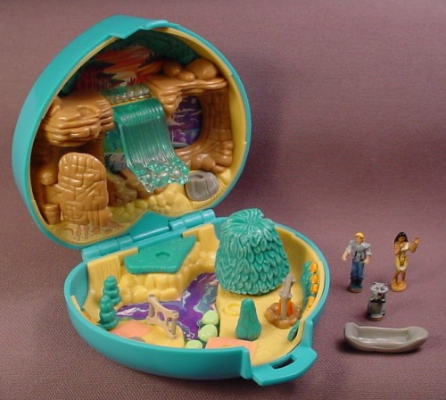 Polly Pocket 1995 Disney Pocahontas Playcase Compact, #14190, Complete Set