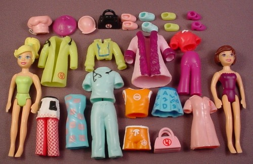 Polly Pocket 2006 28 Piece Lot Of Clothes Dolls ...
