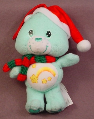 Care Bears Holiday Friends Plush Wish Bear With Santa Hat & Scarf, 5 1/4 Inches Tall, 2005