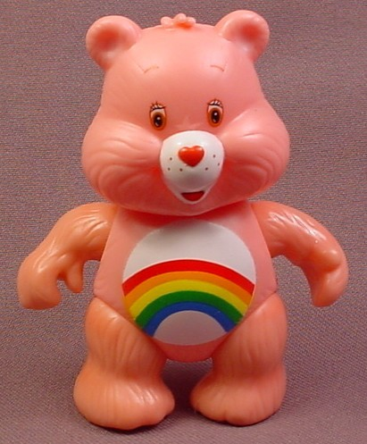 Care Bears Cheer Bear Poseable Figure, 3 1/4 Inches Tall, 2003, From A Care-A-Lot House