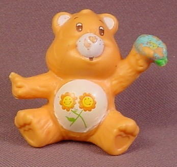 Care Bears 1983 Friend Bear With Flower PVC Figure, 1 3/4 Inches Tall, AGC