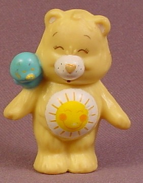Care Bears 1983 Funshine Bear With Bird On Shoulder PVC Figure, 2 Inches Tall, AGC