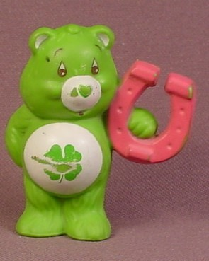 Care Bears Luck Bear With Pink Horseshoe PVC Figure, 2 Inches Tall, AGC, Rub On Symbol