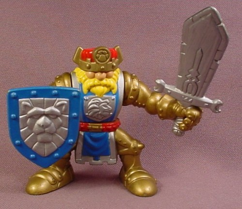 Fisher Price 1999 Great Adventures Magic Castle Gold Knight King With Blue Silver Shield Rons Rescued Treasures
