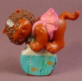 Cabbage Patch Kids Mini PVC Figure Dark Brown Kitty Cat With Fish Bowl, 2 1/8 Inches Tall